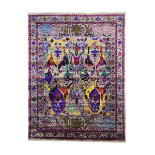 Pure Silk Antiqued Bidjar Garius Design Hand-knotted Area Rug (7'8 x 10')