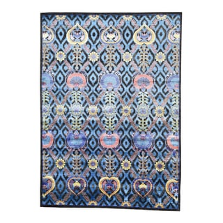 Modern Arts And Crafts Blue Wool And Viscose from Bamboo Silk Area Rug (10' x 13'10)