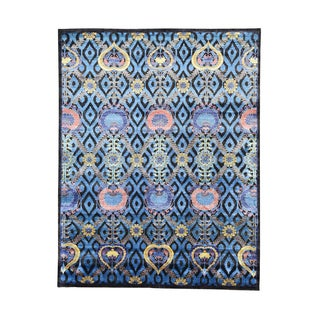 Blue/Multicolor Wool and Viscose from Bamboo Modern Arts and Crafts Hand-knotted Rug (8' x 10'1)