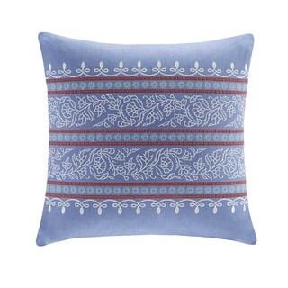 Echo Design Woodstock Blue Cotton Faux Linen Square Throw Pillow