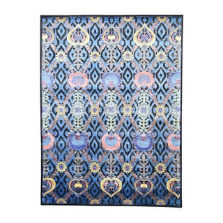 Modern Arts and Crafts Wool and Viscose from Bamboo-Silk Hand-knotted Rug (9'x12')