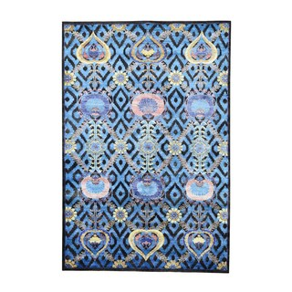 Arts and Crafts Design Wool and Viscose from Bamboo-silk Hand-knotted Rug (6' x 9')