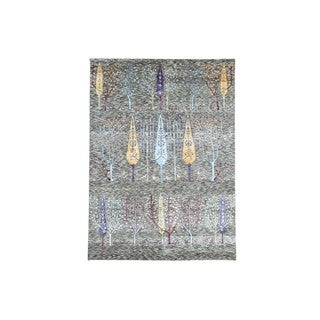 Willow and Cypress Tree Design Wool and Bamboo-silk Rug (5'8 x 7'9)