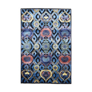 Arts and Crafts Design Wool And Viscose from Bamboo-silk Hand-knotted Rug (4'x6')