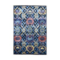 Arts and Crafts Design Wool And Viscose from Bamboo-silk Hand-knotted Rug - 4'x6'
