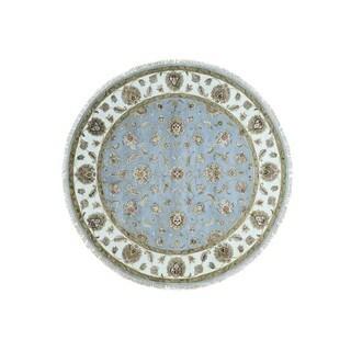 1800getarug Rajasthan Oriental Half Wool/Half Silk Round Rug (8')