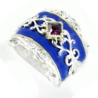 One-of-a-kind Michael Valitutti Lapis Lazuli Bridge with Rhodolite and White Sapphire Cocktail Ring
