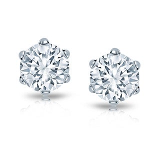 Auriya 14k Gold 2ct TDW 6-Prong Screw-Back Round Diamond Stud Earrings (H-I, SI1-SI2)