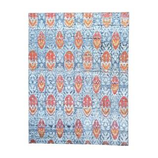 Modern Sari Silk Ikat Design Hand-knotted Oriental Rug (9' x 11'10)