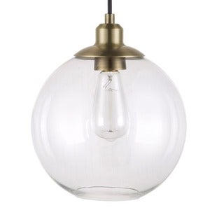 Catalina 19968-000 Antique Brass and Clear Glass 11-inch Orb Pendant Light
