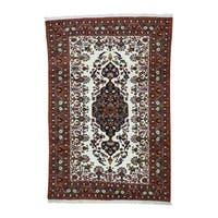 Ivory Wool 6-feet-5-inches x 9-feet-7-inches Hand-knotted Afghan Carpet