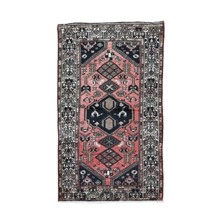 Hand-Knotted Persian Wool Hamadan Carpet (3'7 x6'1)