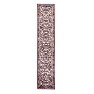1800getarug Handmade Persian Lilahan Ivory/Spring Green/Sky Blue/Rust Red/Beige/Chocolate Brown Wool Runner Rug (2'9 x 13'1)