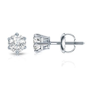 Auriya 14k Gold 1/2ct TDW 6-Prong Screw-Back Round Diamond Stud Earrings (I-J, SI2-SI3)