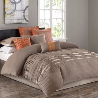 N Natori Nara Neutral Cotton Sa Pieced With Pintuck Duvet Mini Set