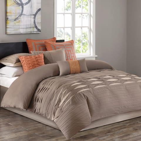 N Natori Nara Neutral Cotton Sateen Pieced with Pintuck Comforter Set