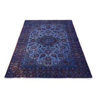 Overdyed Purple Wool Persian Esfahan Oriental Carpet (3'5 x 5')