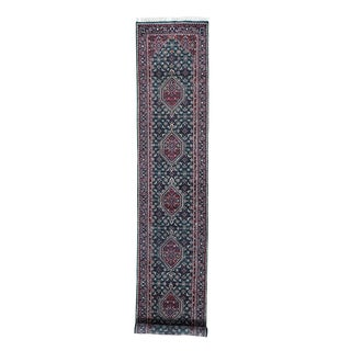 Multicolored Wool Handknotted Indo Bidjar Runner Rug (2'9 x 13'9)
