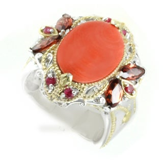 One-of-a-kind Michael Valitutti Salmon Bamboo Coral with Garnet and Ruby Cocktail Ring