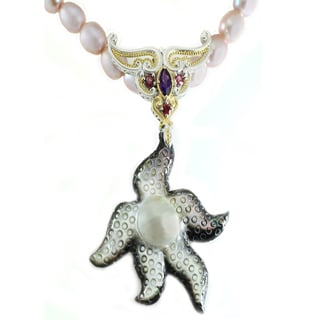 One-of-a-kind Michael Valitutti Starfish Pearl, Amethyst, Rhodolite and Pink Tourmaline Pendant
