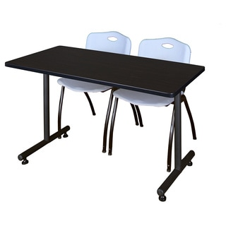 Kobe Grey 60-inch x 24-inch Training Table and 2 'M' Stack Chairs