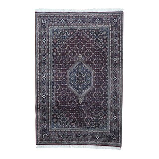Indo Bidjar Burgundy Wool Hand-knotted Oriental Rug (5'10 x 9)