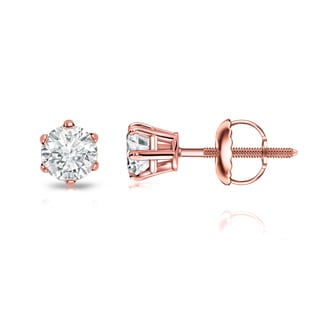 14k Gold 1/4ct TDW 6 Prong Round Solitaire Diamond Stud Earrings by Auriya