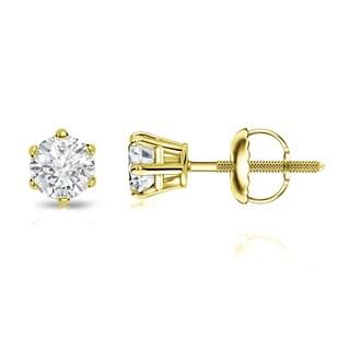 Auriya 14k Gold 1/3ct TDW 6-Prong Screw-Back Round Diamond Stud Earrings