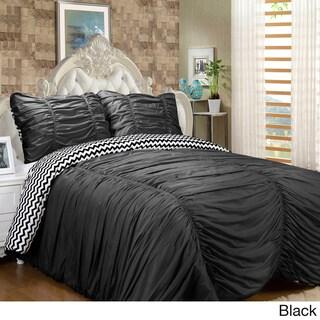 Isabella 3 Piece Reversible Ruched Comforter Set