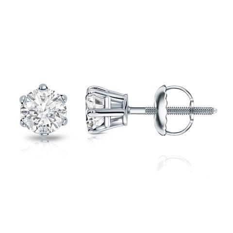 Auriya 14k Gold 1/2ctw Round Diamond Stud Earrings 6-Prong