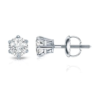 Auriya 14k Gold 1/2ct TDW 6-Prong Screw-Back Round Diamond Stud Earrings