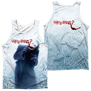 Dark Knight/Why (Front/Back Print) Adult 100% Poly Tank Top in White
