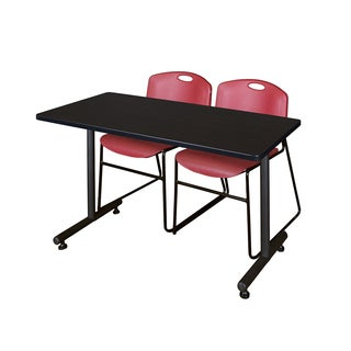 Regency Seating Kobe Black 42-inch Training Table with 2 Zeng Burgundy Stackable Chairs