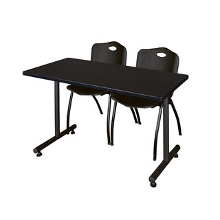Regency Seating Kobe 48-inch Training Table and 2 Black Chairs