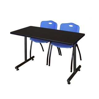 Regency Seating Kobe 42-inch Training Table and 2 'M' Blue Stack Chairs