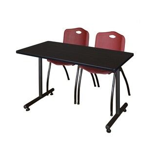 Kobe Black Wood and Metal 42-inch x 24-inch Training Table with 2 Burgundy M-style Stacking Chairs