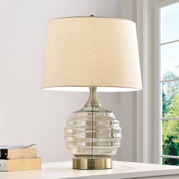 Tuscan Sun Champagne-finish Clear Glass/ Metal 22.5-inch Table Lamp