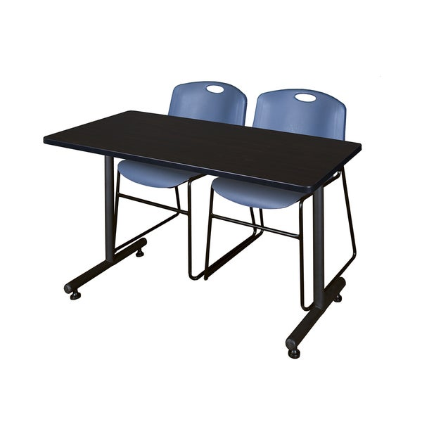 Kobe Blue 48-inch x 24-inch Training Table and 2 Zeng Stack Chairs