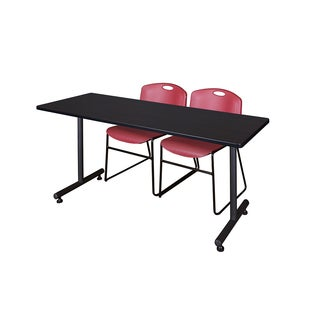 Regency Seating Kobe Burgundy 66-inch Training Table and 2 Zeng Stack Chairs