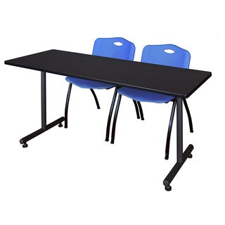 Regency Seating Kobe Blue 66-inch Training Table and 2 'M' Stack Chairs