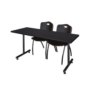 Regency Seating Kobe Black Wood/Laminate/Metal 66-inch x 24-inch Training Table and 2 'M' Stack Chairs