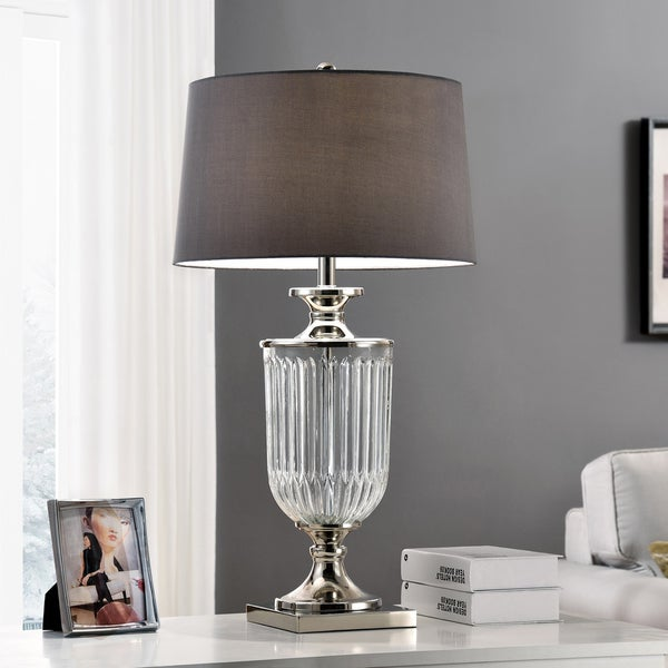 Amelia Clear Faceted Glass/Metal 32.5-inch Table Lamp