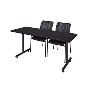Kobe Black 66-inch x 24-inch Training Table and 2 Mario Stack Chairs