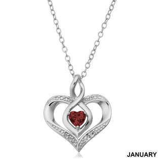 Fremada Rhodium Plated Sterling Silver with Diamond Accent and Birthstone Heart Necklace (18 inches) (More options available)
