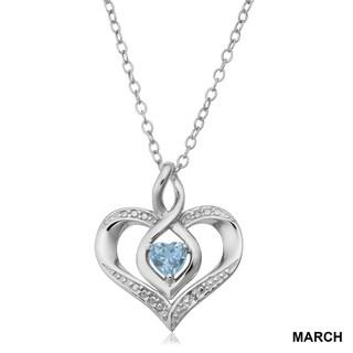 West Coast Jewelry Sterling Silver Rhodium Heart Peridot and Diamond Heart Pendant