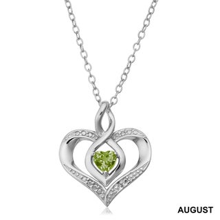 Fremada Rhodium Plated Sterling Silver with Diamond Accent and Birthstone Heart Necklace (18 inches)