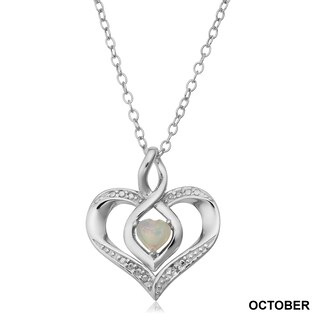 Fremada Rhodium Plated Sterling Silver with Diamond Accent and Birthstone Heart Necklace (18 inches) (Option: October)