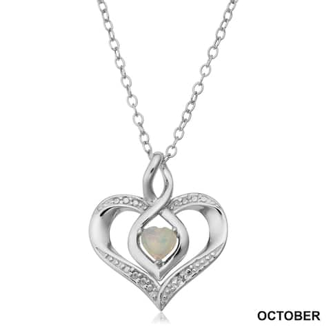 Sterling Silver Birthstone Heart Necklace with Diamond Accent(18 inches)