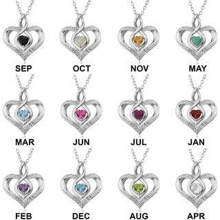 Fremada Rhodium Plated Sterling Silver with Diamond Accent and Birthstone Heart Necklace (18 inches)|https://ak1.ostkcdn.com/images/products/12613465/P19407507.jpg?impolicy=medium