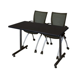 Kobe Black Wood and Metal 60-inch x 24-inch Training Table with 2 Black Apprentice Chairs